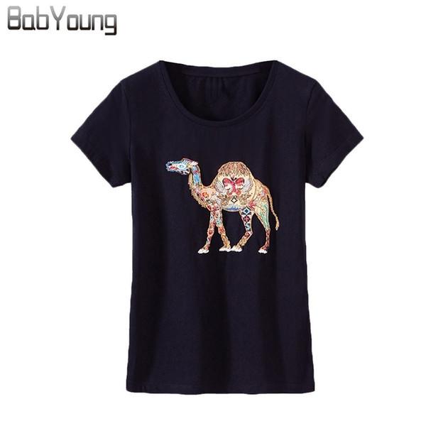 Tops A Summer Algodón Compre O Para Camiseta Señoras Cuello Femme Babyoung Mujer Patrón Camisetas Camel Harajuku Corta Manga PkXTuiZO