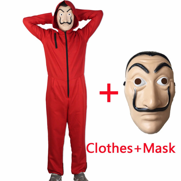 Salvador Dali Movie Costume Money Heist The House of Paper La Casa De Papel Cosplay Halloween Party Costumes,Face Mask of gift