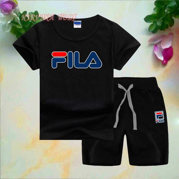 FilaLogo Luxus Designer Mode Kinder Jungen Mädchen Kleidung Sportbekleidung Sommer Baby Shorts 2 Teile / sätze Kinder Outfit Kleinkind Baumwolle Tracksutis