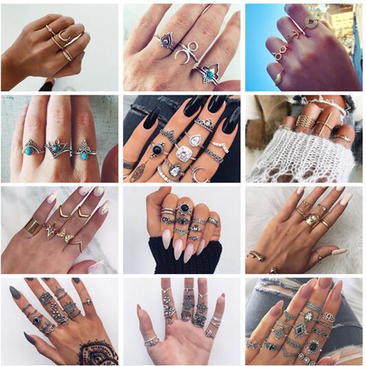 20 styles Vintage Charm Midi Finger Knuckle Ring Set pour les Femmes Boho Party Cristal Aile Anneaux Minuscule Bijoux Cadeau ALXX