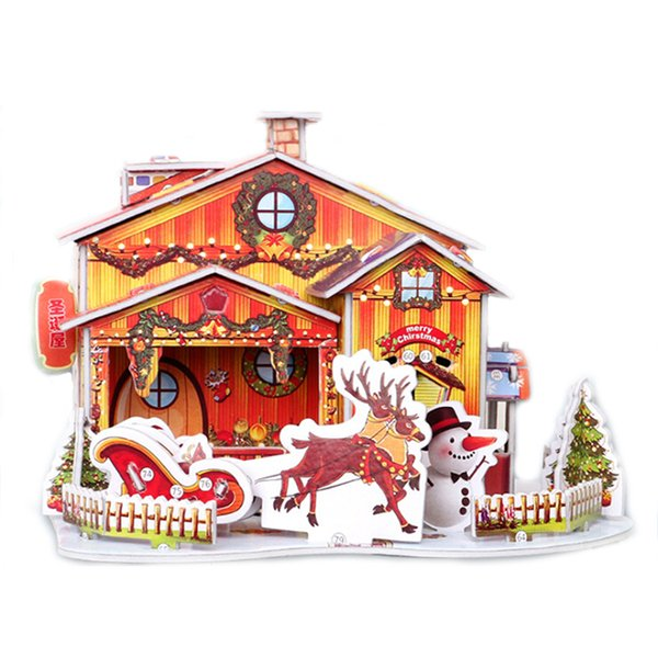 creative 3d puzzle christmas house paper model christmas birthday party decoration kids educational toys xmas gift orange