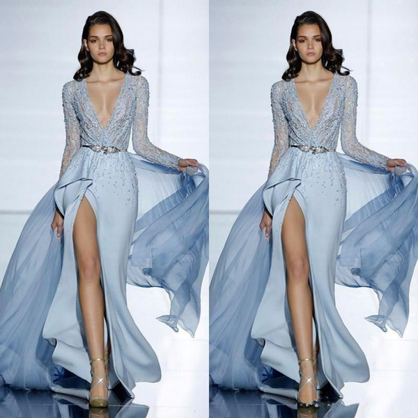 2019 New See Through Sexy Zuhair Murad Mermaid Evening Dresses With Long Sleeves Formal Prom Dress Crystals Blue High Split Celebrity Gowns