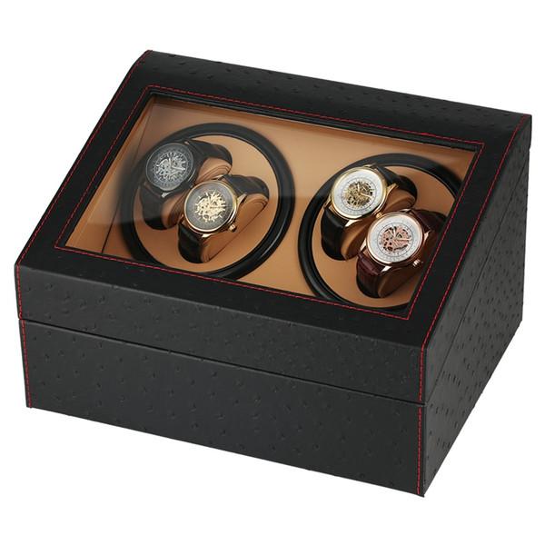 REINO UNIDO Plugue Relógio Mecânico Automático Winders Preto 4 + 6 Coleção Relógio de Pulso Caixa De Luxo Quiet Motors Armazenamento Relógios Caixas de Enrolamento