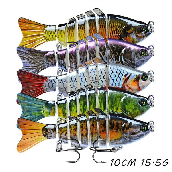 top popular 5pcs lot Multi-section Fish Hard Baits & Lures 15 Color Mixed 10CM 15.5G 6# Hook Fishing Hooks Pesca Fishing Tackle Accessories WA_59 2020