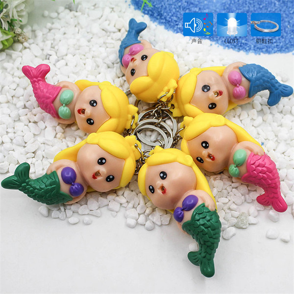 Christmas LED Mermaid Doll Lighted Up Keychain Vocal Keyring Charm Pendant for Kids Bags Car key Accessories Luminous Sounding Key Ring Gift