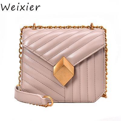 WEIXIER Shoulder Bag Solid Color Oblique Bag Fashion Handbag 2019 New Casual Small Leather Flip Handbag High Quality AL-30