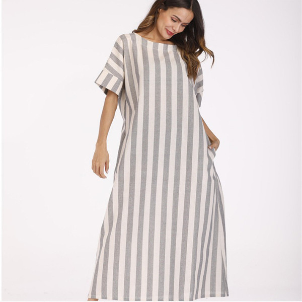 Casual Design Autumn Summer Womens Clothes Europe And The United States  Style Women\'S Striped Maxi Dress Long Plus Size Dresses Girls Dresses Gown  ...