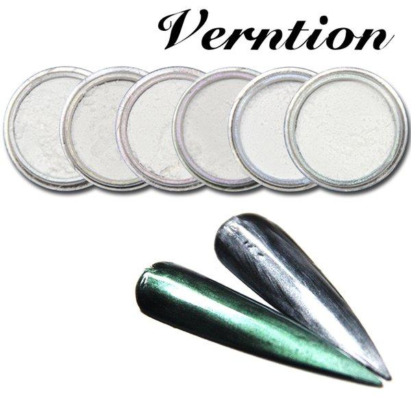 Verntion Nail Glitter Bunte Laserspiegel Nagel Pailletten für UV Art Design Staub DIY Chrom 6 Farben Deco Pigment
