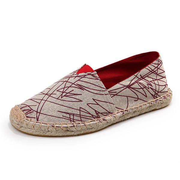 Hot Sale Flat Handmade Straw Shoe Women Soft Casual Espadrilles Slip On Canvas Shoe Couple Shoes Unisex