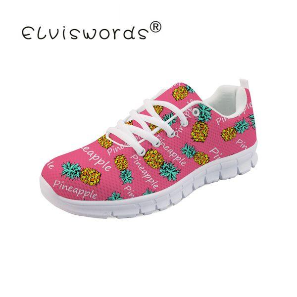 ELVISWORDS Pineapple Design Sneakers Female Mesh Flats Shoe Ladies Fashion Loafers Women Plat form Women Shoes