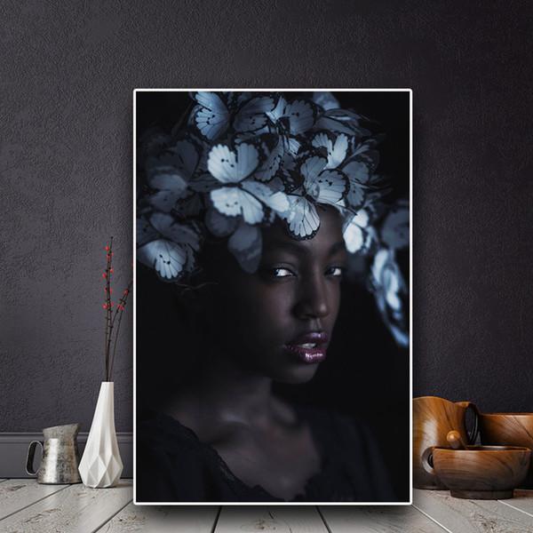 Papillon Black Girl Nu Art africain Peinture à l'huile sur toile Posters et impressions Scandinave Wall Art Picture No Encadrée