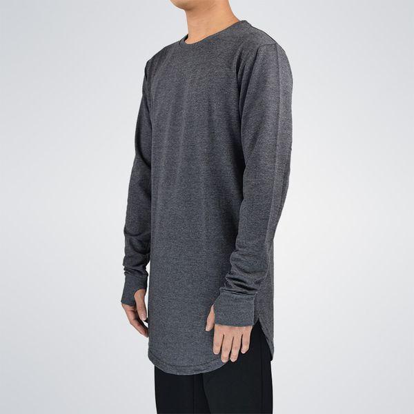 Mens Hip Hop T Shirt Full Long Sleeve T -Shirt With Thumb Hole Cuffs Tees Shirts Curve Hem Men Street Wear Tops