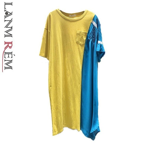 LANMREM 2019 Summer New Irregular Stitching Chiffon Contrast Color Loose Short-sleeved Dresses Fashion Large Size Clothing YH458