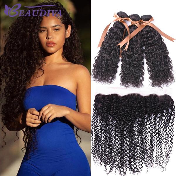 Бразильские девственные человеческие пучки волос Закрытие Kinky Вьющиеся Ухо до Уха 13 * 4 Кружева Фронтальная с 3 пучками Наращивание волос