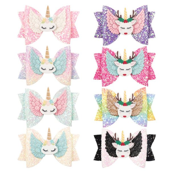 Elk Unicorn Wings Barrettes Hairpins Baby Hair Accessories Rainbow Bowknot Sequins Hairs Clips Colorful Hot Sale 3 6dz O1