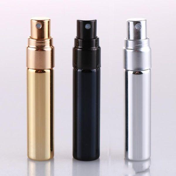 5 ml UV Oro Plata Negro Perfume Atomizador Botella de Viaje Vacía Parfum Mujeres Bolsillo Spray Botellas de Vidrio Recargables 50 unids