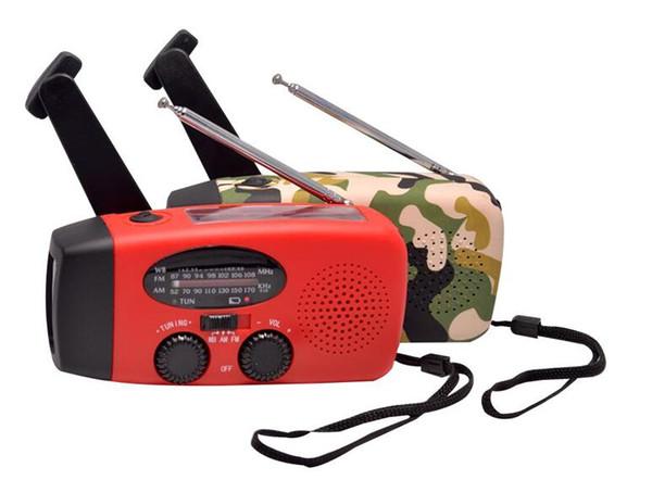 Multifunzionale Radio solare di emergenza Wind Up autoalimentato e ricaricabile Weather Radio con 3 LED torcia elettrica e Banca di potere