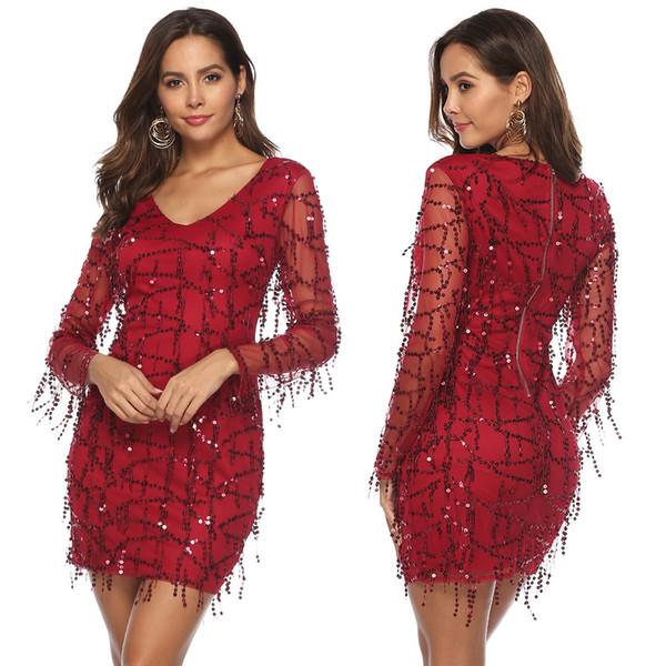 Vestido con flecos sexy de lentejuelas rojo de la borla corta vestido de fiesta más el tamaño 2XL mujeres nueva manga larga vendaje vestidos de fiest
