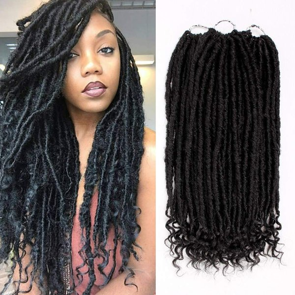top popular 18 inches Goddess Faux Locs With Curly Ends Crochet Hair Prelooped Braids Synthetic Hair Extensions Dreadlocks Ombre Braiding Hair 2020