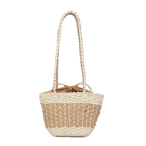 Women Handbag Hand Made Straw Woven Tote Large Capacity Summer Beach Party Shoulder Bag LT88