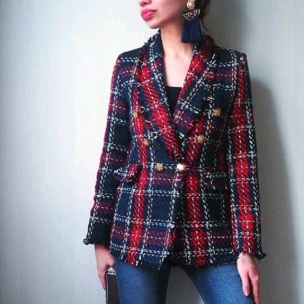 Vintage Fashion Women Patchwork Plaid Tweed Jacket Doppio petto Tasca manica lunga Cappotto femminile Casaco Femme Blazerfenimino