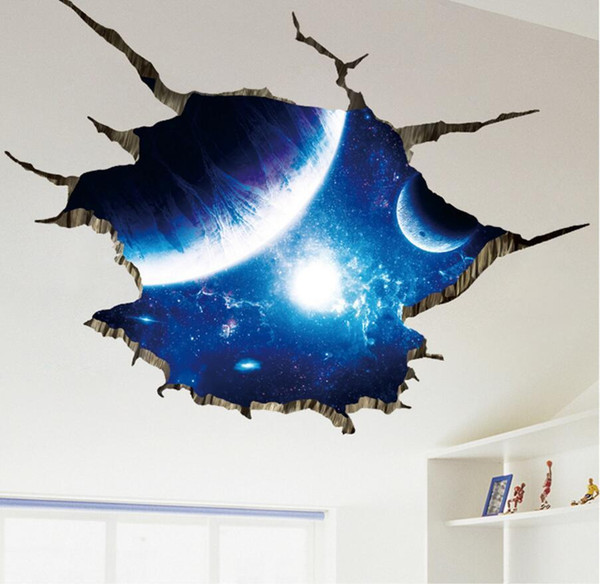 Outer Space Planets 3D Wall Stickers For Living Room Bedroom Floor Decoration Vinyl DIY Home Decor Wall Decals Decals For Walls Decals For Walls