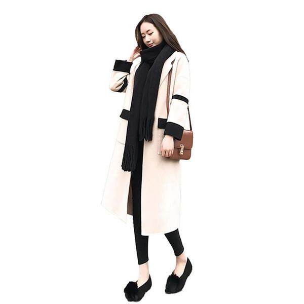Women Autumn Winter Long Wool Vintage Coats Jacket Female Casual Turn-Down Collar Woolen Coat Ladies Thicken Warm Overcoats V520