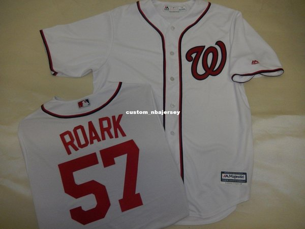 Cheap custom TANNER ROARK Sewn Cool Base JERSEY WHITE Stitched Customize any name number MEN WOMEN BASEBALL JERSEY XS-5XL