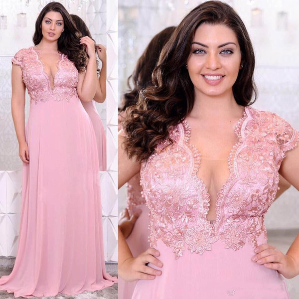 Pink Lace Appliques Plus Size Evening Dresses Deep V-Neck Beaded A Line Prom Gowns Cheap Floor Length Empire Waist Chiffon Formal Dress