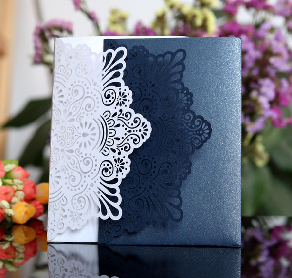 Laser Cut Wedding Invitations With Rsvp Customized Hollow Folding Personalized Wedding Invitation Cards With Envelopes Bw Hk120 25th Wedding