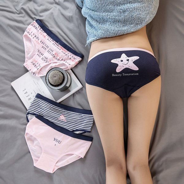 Cute Print Women's Panties Young Girls Low Waist Stripe Underwear Women Cotton Lingerie Briefs Ladies St0076 C19041601