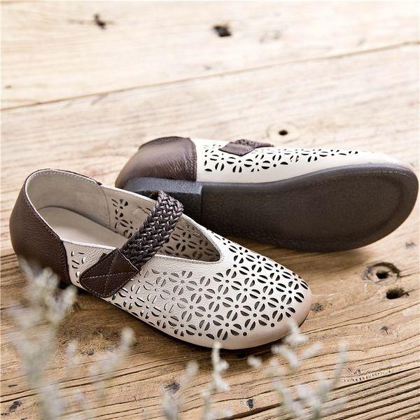 Мягкие подошвы кожаные сандалии женщины 2019 новый летний коровьей ретро обувь на плоской подошве Sen женская личность студенческая обувь Женская обувь