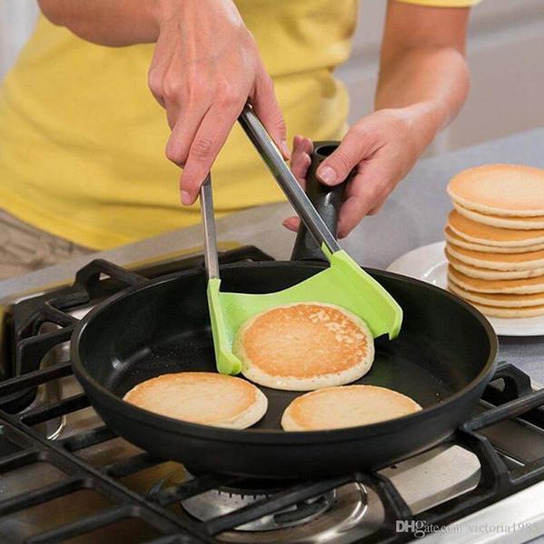 9 inç Mutfak Spatula Maşa Yapışmaz Isı Direnci Paslanmaz Çelik Ultimate 2-in-1 Silikon Maşa Mutfak Gadget 100 adet