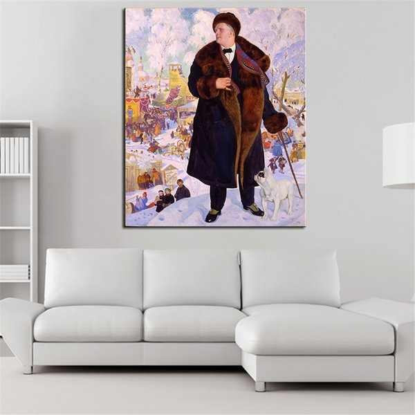 Grandi dimensioni Wall Art Decor Boris Kustodiev Ritratto di Fyod originale Pittura a olio di stampa per immagine parete senza cornice pittura murale