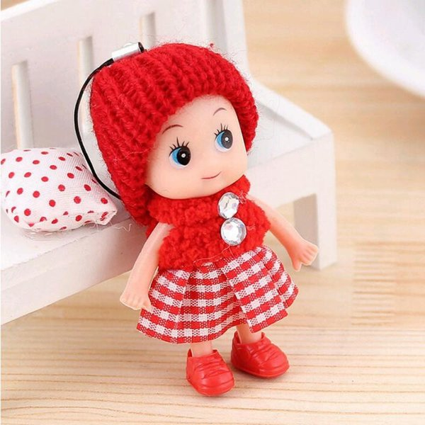 INS 8cm Baby toys Baby dolls Interactive soft pendant Toys for girls Creative small gifts key holder mini toy Free Shipping