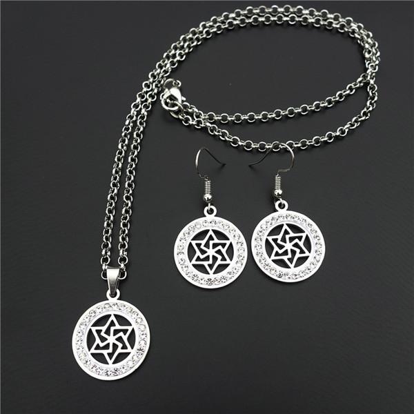 20mm Davidstern Silber Hexagramm Schmuck Set Ton Eingelegten Kristall Strass Edelstahl Halskette Ohrringe Für Frauen Mädchen