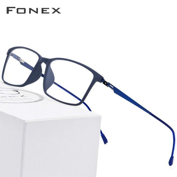 Tr90 Titanium Alloy Glasses Frame Men Myopia Eye Glass Prescription Eyeglasses 2019 Korean Screwless Optical Frames Eyewear 9855 C19042001