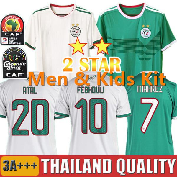 2 Yıldız 19 20 Afrika Kupası Cezayir Futbol formaları AFCON MAHREZ BRAHIMI 2019 Cezayir Futbol forması seti BOUNEDJAH BOUAZZA erkekler çocuk kiti üniformalar