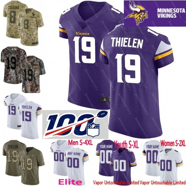official photos a9b0f 547ed 2019 100th Anniversary Custom Men Youth Women Kirk Cousins Stefon Diggs  Adam Thielen Harrison Smith Camo Vikings Elite Jersey From Jerseyoutlets,  ...