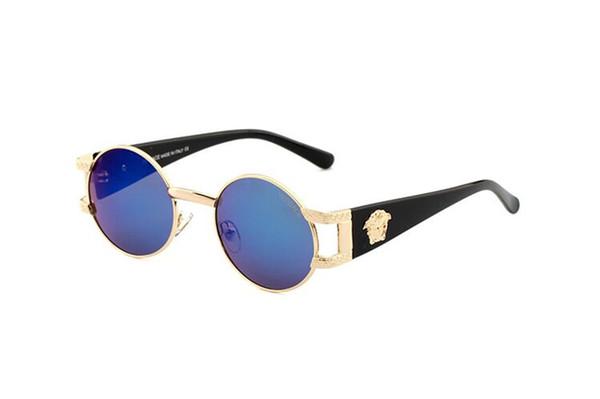 1pair Designer Classic Pilot Occhiali da sole per uomo donna metallo occhiali da sole occhiali oro blu 58mm lenti vetro sfumato con custodia