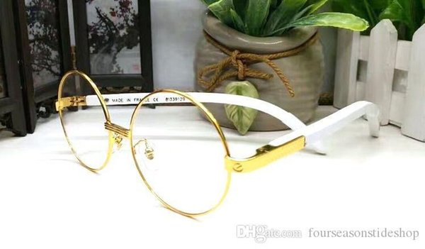 2017 lunettes de soleil en bois de luxe pour les lunettes de soleil polarisées corne de buffle pour hommes femmes RIMLESS lentilles claires gris rondes