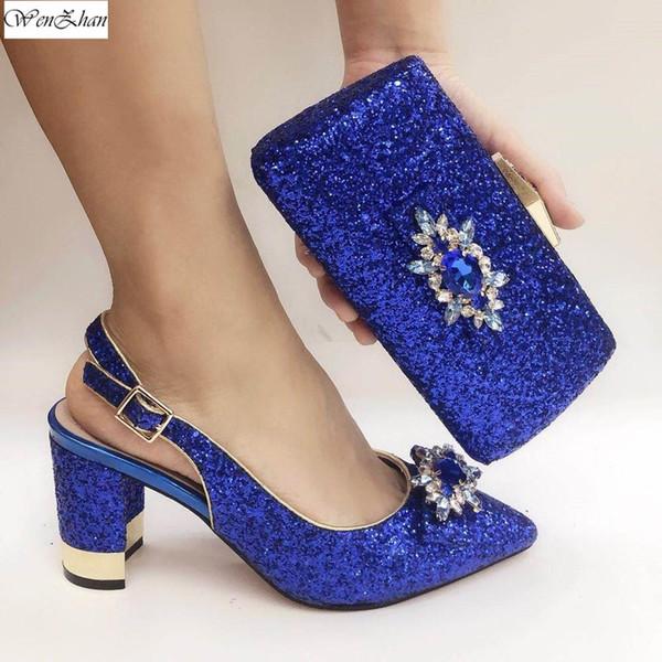 El nuevo venir las mujeres brillo azul con bombas conjunto del monedero de los zapatos bastante africanos fósforo del bolso de la boda del partido C911-25