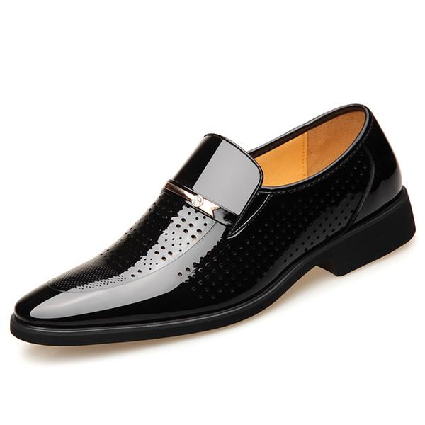 Verano en punta del dedo del pie de los hombres zapatos de vestir transpirables zapatos de boda negro traje formal oficina hombre charol Oxfords2019Trend