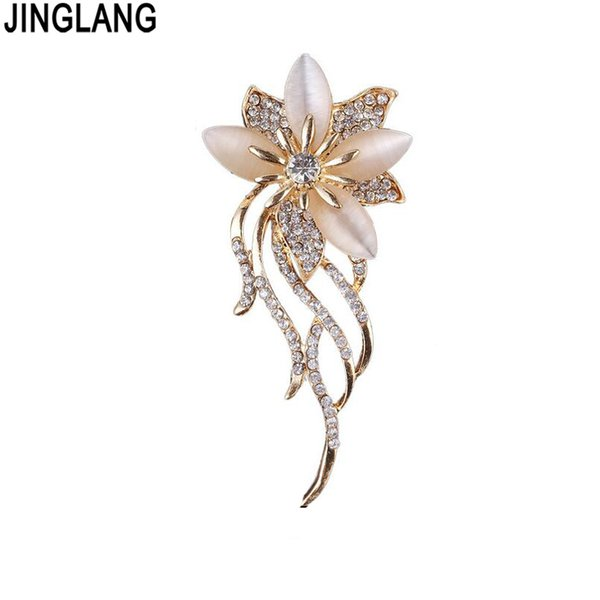 Fashion Gold Color Opal Brooches White Rhinestone Flower Brooches For Women Wedding Party Jewelry accessories pins women wedding 10pcs/lot