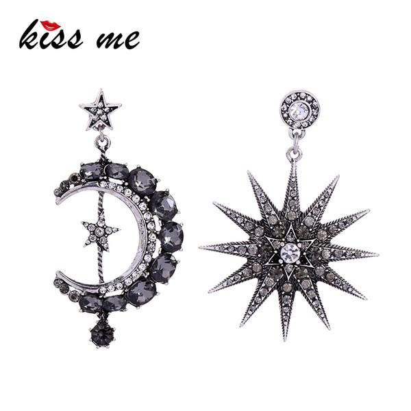 Asymmetric Crystal Star Moon Earrings Korean Fashion Women Statement Vintage Antique Earrings Luxury Jewelry