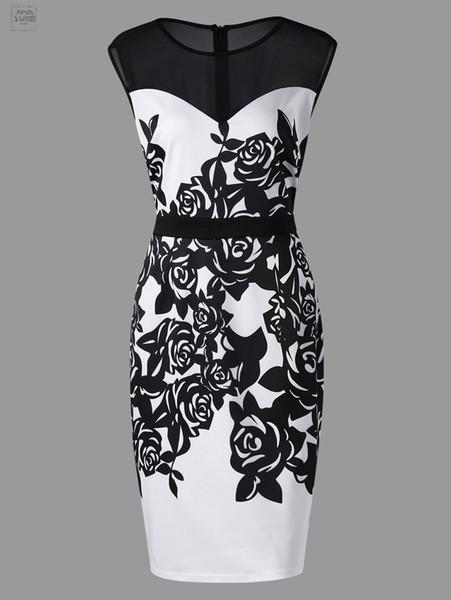 Yaz Kadın Giydirme Plus Size Çalışma Çiçek Baskı Mesh Panel Kılıf Kolsuz Diz Boyu Elbise vestidos Tasarımcı Pileli Elbise Giyim