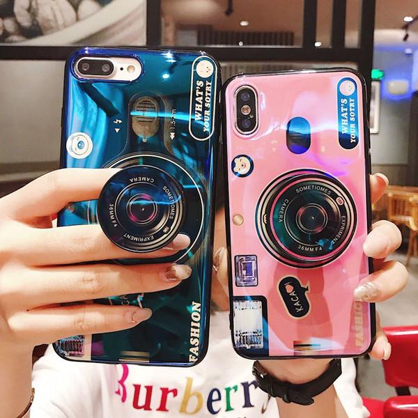 For iphone Xs 8 7 6s S8 9Plus New style Camera pattern Belt bracket Blue light effect Phone Case Soft TPU Glossy Dhl free