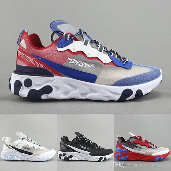 Mens Epic React Element 87 Undercover Designer Shoes Black White Gold Breathable Mesh Men Women Casual Sports Running Sneakers dancego