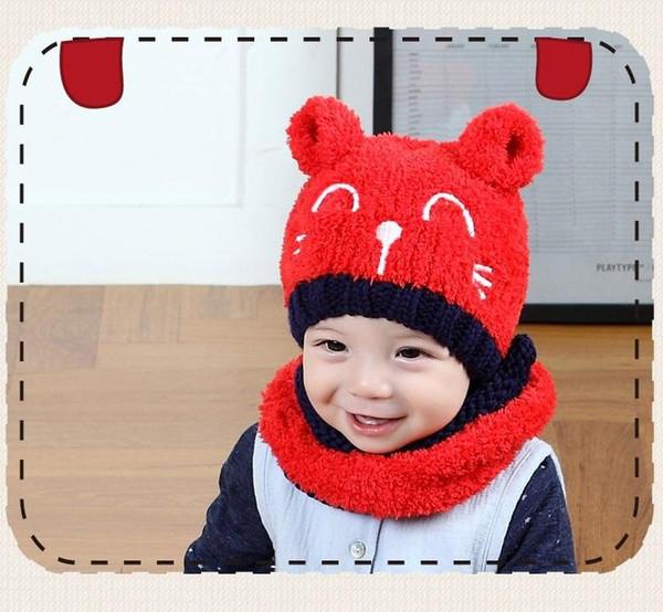 Unisex Child Beanies Cap Set Baby Kids Cartoon Design Stripe Knit Add Velvet Hat and Scarf Winter Warm Suit Set