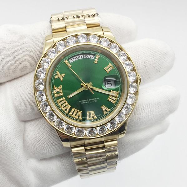 Top Fashion Mens Watch Or 18k Big Diamond Bezel Numéro Roma Nombre Cadran Vert En Acier Inoxydable Automatique Mouvement Mécanique Montre-bracelet